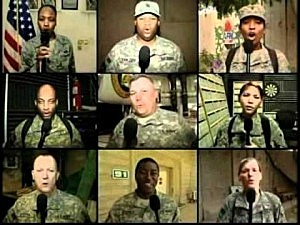 Montage of soldiers singing