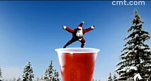 Santa Claus diving into a Red Solo Cup
