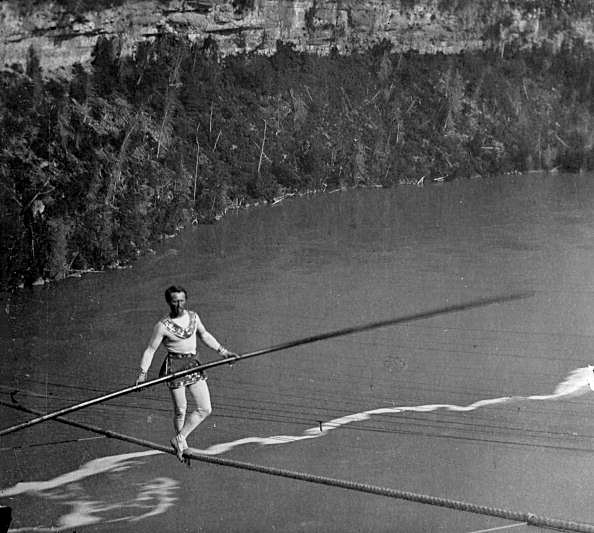 Charles Blondin walking across Niagara Falls