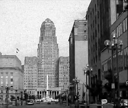 A black and white picture of Buffalo's city hall