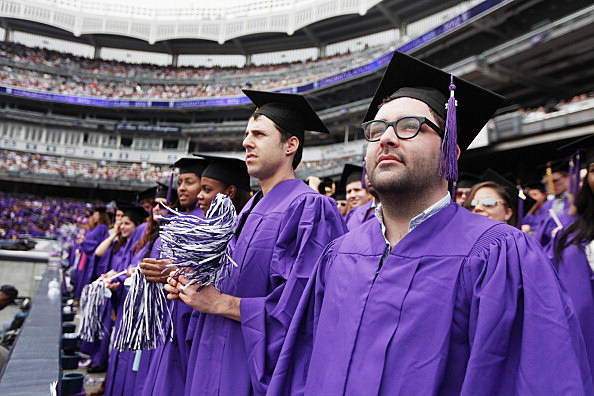 College students in their caps and gowns
