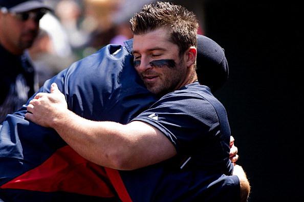 Teammates hugging