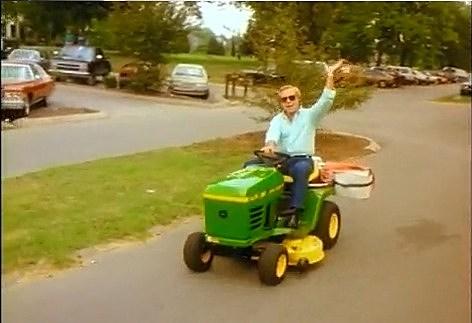 George Jones on his lawn tractor