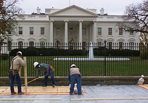 Workers Install Platform at White House