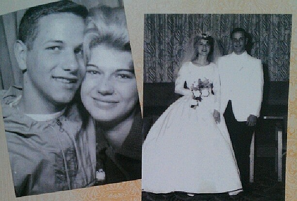 My mom and dad in college and their wedding day