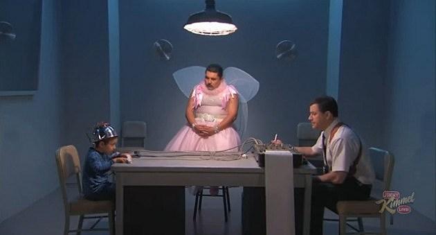Jimmy Kimmel administering a lie detector test