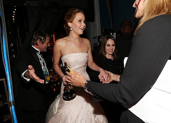 Jennifer Lawrence backstage at the Oscars