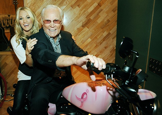 George Jones and Carrie Underwood on a motorcycle