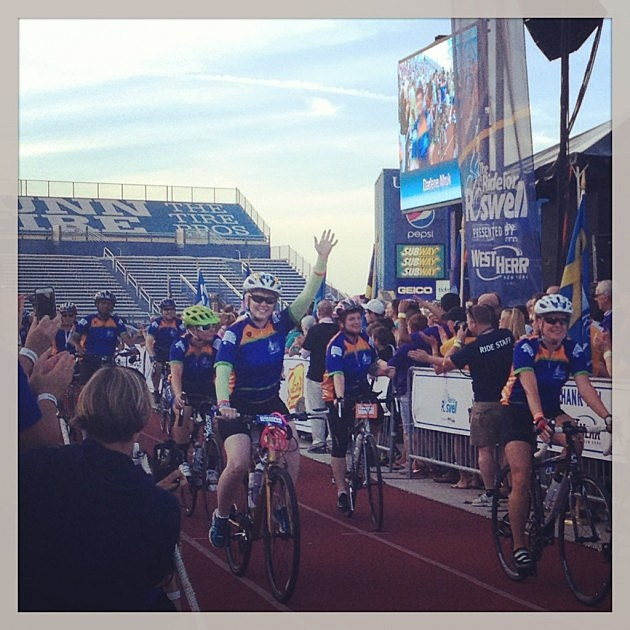 The riders arrive on Friday at UB (Staff Photo)
