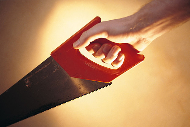 Person holding a saw