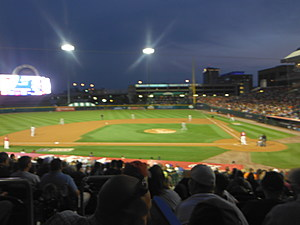 Bison game in the evening.